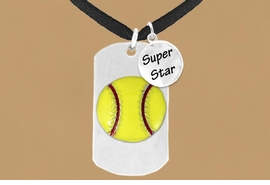 "<bR>             AN ALLAN ROBIN DESIGN<bR>                  EXCLUSIVELY OURS!!<BR>                 LEAD & NICKEL FREE!!<BR>W16278N - DOUBLE-SIDED SOFTBALL<Br> ""NEVER GIVE UP"" DOG TAG & ""SUPER<Br>       STAR"" CHARM NECKLACE FROM<bR>                 $7.50 TO $11.75 ©2010"