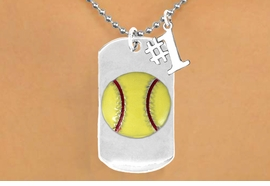 "<bR>             AN ALLAN ROBIN DESIGN<bR>                  EXCLUSIVELY OURS!!<BR>                 LEAD & NICKEL FREE!!<BR>W16279N - DOUBLE-SIDED SOFTBALL<Br>    ""NEVER GIVE UP"" DOG TAG & ""#1""<bR>              CHARM NECKLACE FROM<br>                $7.50 TO $11.75 ©2010"