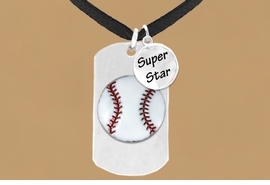 "<bR>             AN ALLAN ROBIN DESIGN<bR>                  EXCLUSIVELY OURS!!<BR>                 LEAD & NICKEL FREE!!<BR>W16281N - DOUBLE-SIDED BASEBALL<Br> ""NEVER GIVE UP"" DOG TAG & ""SUPER<Br>       STAR"" CHARM NECKLACE FROM<bR>                $7.50 TO $11.75 ©2010"
