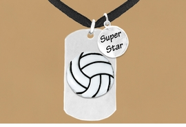 "<bR>               AN ALLAN ROBIN DESIGN<bR>                    EXCLUSIVELY OURS!!<BR>                   LEAD & NICKEL FREE!!<BR>W16284N - DOUBLE-SIDED VOLLEYBALL<Br>    ""NEVER GIVE UP"" DOG TAG & ""SUPER<Br>          STAR"" CHARM NECKLACE FROM<bR>                   $7.50 TO $11.75 ©2010"