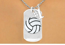 "<bR>               AN ALLAN ROBIN DESIGN<bR>                    EXCLUSIVELY OURS!!<BR>                   LEAD & NICKEL FREE!!<BR>W16285N - DOUBLE-SIDED VOLLEYBALL<Br>       ""NEVER GIVE UP"" DOG TAG & ""#1""<bR>CHARM NECKLACE FROM $7.50 TO $11.75<bR>                                   ©2010"