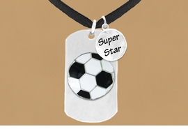 "<bR>                AN ALLAN ROBIN DESIGN<bR>                     EXCLUSIVELY OURS!!<BR>                    LEAD & NICKEL FREE!!<BR>W16287N - DOUBLE-SIDED SOCCER BALL<Br>    ""NEVER GIVE UP"" DOG TAG & ""SUPER<Br>          STAR"" CHARM NECKLACE FROM<bR>                   $7.50 TO $11.75 ©2010"