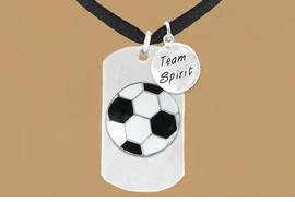 "<bR>                 AN ALLAN ROBIN DESIGN<bR>                      EXCLUSIVELY OURS!!<BR>                     LEAD & NICKEL FREE!!<BR>W16289N - DOUBLE-SIDED SOCCER BALL<Br>      ""NEVER GIVE UP"" DOG TAG & ""TEAM<Br>          SPIRIT"" CHARM NECKLACE FROM<bR>                    $7.50 TO $11.75 ©2010"