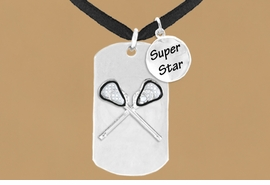 "<bR>               AN ALLAN ROBIN DESIGN<bR>                   EXCLUSIVELY OURS!!<BR>                  LEAD & NICKEL FREE!!<BR>W16290N - DOUBLE-SIDED LACROSSE<Br>  ""NEVER GIVE UP"" DOG TAG & ""SUPER<Br>        STAR"" CHARM NECKLACE FROM<bR>                  $7.50 TO $11.75 ©2010"