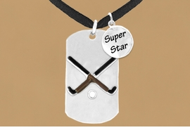 "<bR>                  AN ALLAN ROBIN DESIGN<bR>                       EXCLUSIVELY OURS!!<BR>                      LEAD & NICKEL FREE!!<BR>W16293N - DOUBLE-SIDED FIELD HOCKEY<Br>     ""NEVER GIVE UP"" DOG TAG & ""SUPER<Br>            STAR"" CHARM NECKLACE FROM<bR>                     $7.50 TO $11.75 ©2010"