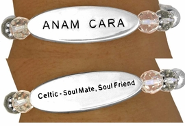 "<BR>                 AN ALLAN  ROBIN DESIGN<Br>                     EXCLUSIVELY OURS!!!<bR> W11393B - DOUBLE-SIDED OVAL PLATE<br>      CELTIC ""SOUL MATE, SOUL FRIEND""<Br>    STRETCH BRACELET AS LOW AS $3.45<BR>                                   �2007"
