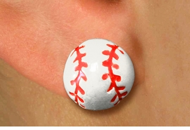 <bR>       BASEBALL EARRING  WHOLESALE<BR>              LEAD & NICKEL FREE!! <BR> W20457E - 3D BASEBALL POST STYLE <Br> EARRINGS FROM $3.35 TO $7.50 �2013
