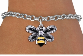 <BR>                         BEE JEWELRY <bR>                EXCLUSIVELY OURS!! <Br>           AN ALLAN ROBIN DESIGN!! <BR>  CLICK HERE TO SEE 1000+ EXCITING <BR>        CHANGES THAT YOU CAN MAKE! <BR>     LEAD, NICKEL & CADMIUM FREE!! <BR>   W1439SB - SILVER TONE WITH CLEAR <BR> CRYSTAL BUMBLEBEE CHARM & BRACELET <BR>         FROM $5.40 TO $9.85 �2013