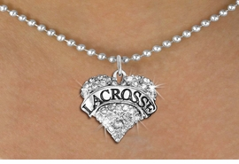 "<BR>     WHOLESALE FASHION HEART JEWELRY <bR>                   EXCLUSIVELY OURS!! <Br>              AN ALLAN ROBIN DESIGN!! <BR>     CLICK HERE TO SEE 1600+ EXCITING <BR>           CHANGES THAT YOU CAN MAKE! <BR>        LEAD, NICKEL & CADMIUM FREE!! <BR>   W1581SN - ANTIQUED SILVER TONE AND <BR>CLEAR CRYSTAL ""LACROSSE"" HEART CHARM <BR>   NECKLACE FROM $5.40 TO $9.85 �2014<BR>PICTURED ABOVE  ""BALL CHAIN NECKLACE"""