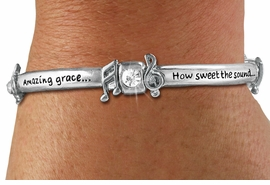 "<Br>CADMIUM, LEAD, AND NICKEL FREE!!<BR>W19499B - ""AMAZING GRACE..."" <Br>       SILVER TONE AND CRYSTAL <br>   ENGRAVED STRETCH BRACELET<Br>         AS LOW AS $3.94"