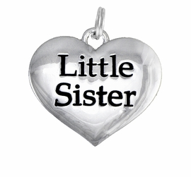 "<BR>CADMIUM,  LEAD & NICKEL FREE!! <BR>W1296SC - POLISHED SILVER TONE <BR>   ""LITTLE SISTER"" HEART CHARM <BR>             FROM $1.90 TO $4.50"