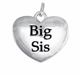"<BR>CADMIUM,  LEAD & NICKEL FREE!! <BR>W1298SC - POLISHED SILVER TONE <BR>         ""BIG SIS"" HEART CHARM <BR>             FROM $1.90 TO $4.50"