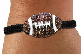 <BR>CADMIUM. LEAD & NICKEL FREE!! <BR>W19781B - AUSTRIAN TOPAZ CRYSTAL <BR>ADJUSTABLE FOOTBALL SHAMBALLA <BR>   BRACELET  FROM $6.19 TO $13.75