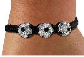 <BR>CADMIUM. LEAD & NICKEL FREE!! <BR>W19783B - AUSTRIAN CLEAR CRYSTAL <BR>ADJUSTABLE SOCCER SHAMBALLA <BR>   BRACELET  FROM $6.19 TO $13.75