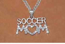 "<BR>CADMIUM, LEAD & NICKEL FREE!! <BR>W19784N - AUSTRIAN CRYSTAL & <BR>SILVER ""SOCCER MOM"" NECKLACE <BR>    FROM $3.94 TO $8.75 �2012"