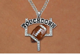 "<BR>CADMIUM, LEAD & NICKEL FREE!! <BR>W19785NE - AUSTRIAN CRYSTAL <BR>   ""TOUCHDOWN"" FOOTBALL <BR> NECKLACE AND EARRING SET<BR>   FROM $6.75 TO $15.00 �2012"
