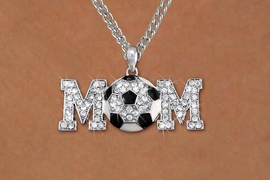 "<BR>CADMIUM, LEAD & NICKEL FREE!! <BR>W19786NE - AUSTRIAN CRYSTAL <BR>SILVER TONE SOCCER ""MOM"" BLING <BR> NECKLACE AND EARRING SET <BR>      FROM $6.75 TO $15.00 �2012"