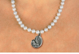 <BR>                       CATHOLIC JEWELRY<Br>                     LEAD & NICKEL FREE!! <Br>     W19459N - VIRGIN MARY AND CHILD <BR> CHARM ON 8MM PEARL BEAD NECKLACE <BR>            FROM $4.73 TO $10.50 �2012