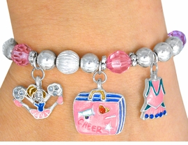 "<br>  CHILDREN'S SIZE AGES 3-12<BR>     LEAD FREE NICKEL FREE!!<BR> W22935B12 - 5 CHARM ""CHEER <br>POWER"" STRETCH BRACELET<BR>        FROM $6.85 TO $8.60"