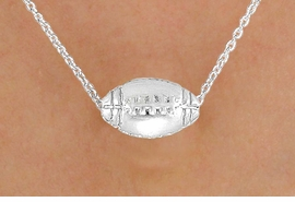 <BR>CLICK HERE TO SEE 65+ EXCITING<BR>ADDITIONS THAT YOU CAN MAKE!<BR>             LEAD & NICKEL FREE!!<Br>     W13200N - DETAILED SILVER<Br>     TONE FOOTBALL NECKLACE<Br>                  AS LOW AS $3.35