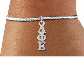<BR>                       CLICK ON PICTURE, SCROLL DOWN<BR>             TO SELECT YOUR SORORITIES GREEK LETTERS<bR>                   WHOLESALE FASHION SORORITY JEWELRY  <BR>                                  EXCLUSIVELY OURS!!  <BR>                             AN ALLAN ROBIN DESIGN!!  <BR>                       LEAD, NICKEL & CADMIUM FREE!!  <BR>            W21363B - OFFICIAL SILVER TONE CUSTOM  <BR>    GREEK LETTER SORORITY CHARM ON ADJUSTABLE <Br>SNAKE CHAIN BRACELET FROM $5.90 TO $9.25 �2014