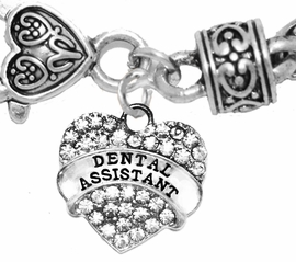 <BR>          DENTAL ASSISTANT, GENUINE CRYSTAL HEART<br>        TWO-TONE CABLE BRACELET, SAFE-HYPOALLERGENIC, <BR>NICKEL, LEAD, CADMIUM FREE, FROM $ 7.38 TO $10.38 �2016,