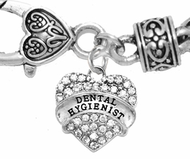 <BR>           DENTAL HYGIENIST, GENUINE CRYSTAL HEART<br>        WHEAT CHAIN BRACELET, SAFE-HYPOALLERGENIC, <BR>NICKEL, LEAD, CADMIUM FREE, FROM $ 11.38 TO $14.38 �2016,