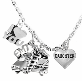 <BR>      EMT, I LOVE YOU DAUGHTER CHARM NECKLACE<BR>                             AN ALLAN ROBIN DESIGN!! <Br>                         CADMIUM, LEAD & NICKEL FREE!!  <Br> W1530-380-1831N1 ON A CABLE CHAIN NECKLACE <BR>                              FROM $7.50 TO $9.50 �2016