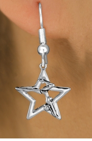 <bR>               EXCLUSIVELY OURS!!<BR>         AN ALLAN ROBIN DESIGN!! <BR>      CADMIUM,  LEAD & NICKEL FREE!! <BR>W1309SE -  SILVER TONE GYMNAST <BR>POSED IN STAR CHARM EARRINGS    <br>       AS LOW AS $3.25
