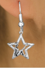 <bR>               EXCLUSIVELY OURS!!<BR>         AN ALLAN ROBIN DESIGN!! <BR>      CADMIUM,  LEAD & NICKEL FREE!! <BR>W1310SE -  SILVER TONE GYMNAST <BR>POSED IN STAR CHARM EARRINGS   <br>       AS LOW AS $3.25