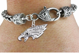 <bR>                   EXCLUSIVELY OURS!!<BR>             AN ALLAN ROBIN DESIGN!!<BR>     CADMIUM, LEAD & NICKEL FREE!! <BR>W1318SB - DETAILED EAGLE HEAD CRYSTAL <BR>    CHARM & HEART CLASP BRACELET <BR>         FROM $5.63 TO $12.50 �2012