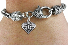 <bR>                 EXCLUSIVELY OURS!!<BR>           AN ALLAN ROBIN DESIGN!! <BR> CADMIUM, LEAD & NICKEL FREE!! <BR>W1322SB - ANTIQUED SILVER TONE <BR>SCRIPT HEART CHARM & HEART CLASP <BR>BRACELET FROM $3.94 TO $8.75 �2012