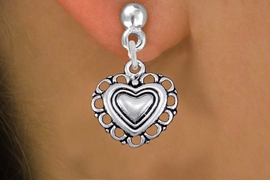 <bR>                 EXCLUSIVELY OURS!!<BR>           AN ALLAN ROBIN DESIGN!! <BR> CADMIUM, LEAD & NICKEL FREE!! <BR>W1324SE - ANTIQUED SILVER TONE <BR>SCRIPT HEART CHARM EARRINGS <BR>     FROM $4.50 TO $8.35 �2012