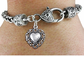 <bR>                 EXCLUSIVELY OURS!!<BR>           AN ALLAN ROBIN DESIGN!! <BR> CADMIUM, LEAD & NICKEL FREE!! <BR>W1325SB - ANTIQUED SILVER TONE <BR>SCRIPT HEART CHARM & HEART CLASP <BR>BRACELET FROM $3.94 TO $8.75 �2012