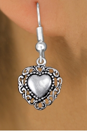 <bR>                 EXCLUSIVELY OURS!!<BR>           AN ALLAN ROBIN DESIGN!! <BR> CADMIUM, LEAD & NICKEL FREE!! <BR>W1325SE - ANTIQUED SILVER TONE <BR>SCRIPT HEART CHARM EARRINGS <BR>     FROM $4.50 TO $8.35 �2012