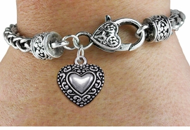 <bR>                 EXCLUSIVELY OURS!!<BR>           AN ALLAN ROBIN DESIGN!! <BR> CADMIUM, LEAD & NICKEL FREE!! <BR>W1327SB - ANTIQUED SILVER TONE <BR>SCRIPT HEART CHARM & HEART CLASP <BR>BRACELET FROM $3.94 TO $8.75 �2012