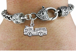 <bR>                 EXCLUSIVELY OURS!!<BR>           AN ALLAN ROBIN DESIGN!! <BR> CADMIUM, LEAD & NICKEL FREE!! <BR>W1350SB - ANTIQUED SILVER TONE <BR>FIRE ENGINE CHARM & HEART CLASP <BR>BRACELET FROM $3.94 TO $8.75 �2012