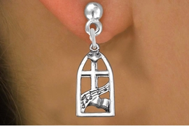 "<bR>                 EXCLUSIVELY OURS!!<BR>           AN ALLAN ROBIN DESIGN!! <BR> CADMIUM, LEAD & NICKEL FREE!! <BR>W1364SE - ANTIQUED SILVER TONE <BR>  ""SING JOYFULLY UNTO THE LORD"" <BR>       RELIGIOUS CHARM EARRINGS <BR>     FROM $4.50 TO $8.35 �2012"