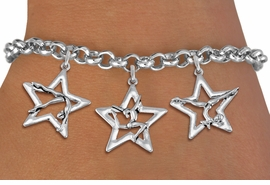 <bR>               EXCLUSIVELY OURS!!<BR>         AN ALLAN ROBIN DESIGN!!<BR>  CADMIUM,  LEAD & NICKEL FREE!! <BR>W19746B - SILVER TONE GYMNAST <BR>  POSED IN STAR 3 CHARM BRACELET  <br>       AS LOW AS $4.90