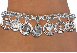 <Br>              EXCLUSIVELY OURS!! <Br>        AN ALLAN ROBIN DESIGN!! <Br>CADMIUM, LEAD & NICKEL FREE!! <Br>W19760B - SILVER TONE CHRISTMAS <BR>   THEMED SEVEN CHARM BRACELET <BR>     WITH VIRGIN & CHILD CHARM <BR>        FROM $7.65 TO $17.00 �2012