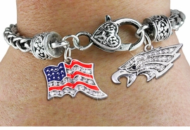 <bR>                   EXCLUSIVELY OURS!!<BR>             AN ALLAN ROBIN DESIGN!!<BR>     CADMIUM, LEAD & NICKEL FREE!! <BR>W19815B - SILVER TONE EAGLE HEAD <BR>AND PATRIOTIC AMERICAN FLAG CRYSTAL <BR>  CHARMS ON HEART CLASP BRACELET <BR>         FROM $7.85 TO $17.50 �2012