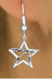 <bR>               EXCLUSIVELY OURS!!<BR>         AN ALLAN ROBIN DESIGN!!<BR>   CHANGES THAT YOU CAN MAKE!<BR>      CADMIUM,  LEAD & NICKEL FREE!! <BR>W1307SE -  SILVER TONE GYMNAST <BR>POSED IN STAR CHARM EARRINGS  <br>       AS LOW AS $3.25