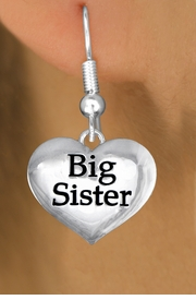 "<bR>               EXCLUSIVELY OURS!!<BR>         AN ALLAN ROBIN DESIGN!!<BR>CLICK HERE TO SEE 1000+ EXCITING<BR>   CHANGES THAT YOU CAN MAKE!<BR>      CADMIUM,  LEAD & NICKEL FREE!! <BR>W1297SE -  POLISHED SILVER TONE <BR>""BIG SISTER"" HEART CHARM EARRINGS  <BR>      FROM $4.50 TO $8.35 �2012"