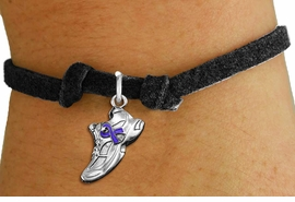 <bR>                     EXCLUSIVELY OURS!!<BR>               AN ALLAN ROBIN DESIGN!!<BR>      CLICK HERE TO SEE 1000+ EXCITING<BR>         CHANGES THAT YOU CAN MAKE!<BR>        CADMIUM,  LEAD & NICKEL FREE!! <BR>W1303SB - SILVER TONE SNEAKER <BR>PURPLE RIBBON CHILDS BRACELET <BR>           FROM $4.15 TO $8.00 �2012