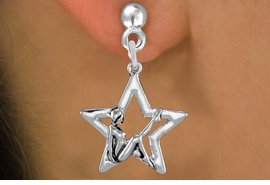 <bR>               EXCLUSIVELY OURS!!<BR>         AN ALLAN ROBIN DESIGN!!<BR>CLICK HERE TO SEE 1000+ EXCITING<BR>   CHANGES THAT YOU CAN MAKE!<BR>      CADMIUM,  LEAD & NICKEL FREE!! <BR>W1310SE -  SILVER TONE GYMNAST <BR>POSED IN STAR CHARM EARRINGS  <BR>      FROM $4.50 TO $8.35 �2012