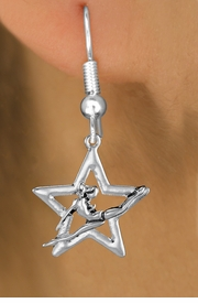 <bR>               EXCLUSIVELY OURS!!<BR>         AN ALLAN ROBIN DESIGN!!<BR>CLICK HERE TO SEE 1000+ EXCITING<BR>   CHANGES THAT YOU CAN MAKE!<BR>      CADMIUM,  LEAD & NICKEL FREE!! <BR>W1311SE -  SILVER TONE GYMNAST <BR>POSED IN STAR CHARM EARRINGS  <BR>      FROM $4.50 TO $8.35 �2012