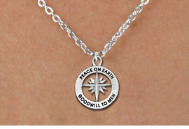 "<bR>                 EXCLUSIVELY OURS!!<BR>           AN ALLAN ROBIN DESIGN!!<BR>  CLICK HERE TO SEE 1000+ EXCITING<BR>     CHANGES THAT YOU CAN MAKE!<BR> CADMIUM, LEAD & NICKEL FREE!! <BR>W1313SN - ROUND SILVER TONE <BR>""PEACE ON EARTH"" CHRISTMAS CHARM <BR>& NECKLACE FROM $4.50 TO $8.35 �2012"