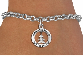 "<bR>                 EXCLUSIVELY OURS!!<BR>           AN ALLAN ROBIN DESIGN!!<BR>  CLICK HERE TO SEE 1000+ EXCITING<BR>     CHANGES THAT YOU CAN MAKE!<BR> CADMIUM, LEAD & NICKEL FREE!! <BR>W1314SB - ROUND SILVER TONE <BR>""JESUS IS THE REASON"" CHRISTMAS CHARM <BR>& BRACELET FROM $4.15 TO $8.00 �2012"