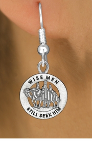 "<bR>                 EXCLUSIVELY OURS!!<BR>           AN ALLAN ROBIN DESIGN!!<BR>  CLICK HERE TO SEE 1000+ EXCITING<BR>     CHANGES THAT YOU CAN MAKE!<BR> CADMIUM, LEAD & NICKEL FREE!! <BR>W1315SE - ROUND SILVER TONE <BR>   ""WISE MEN"" CHRISTMAS CHARM <BR>EARRINGS FROM $4.50 TO $8.35 �2012"