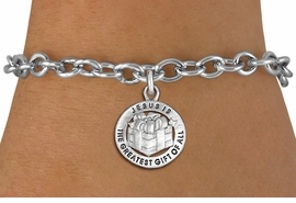 "<bR>                 EXCLUSIVELY OURS!!<BR>           AN ALLAN ROBIN DESIGN!!<BR>  CLICK HERE TO SEE 1000+ EXCITING<BR>     CHANGES THAT YOU CAN MAKE!<BR> CADMIUM, LEAD & NICKEL FREE!! <BR>W1316SB - ROUND SILVER TONE <BR>""GREATEST GIFT"" CHRISTMAS CHARM & <BR>BRACELET FROM $4.15 TO $8.00 �2012"
